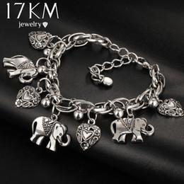 17 KM Vintage-Schmuck Mode Armbänder Für Frauen Anhänger Elefanten blatt Pulseira Legierung Böhmischen Für Frauen Silber Farbe von Fabrikanten