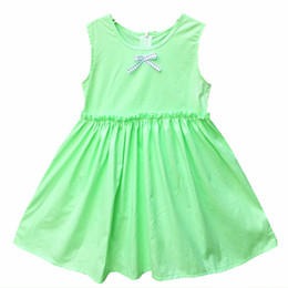 Wholesale Straight Wedding Gowns - 2017 new Baby Kids Girls Summer Candy green 100% cotton Colors Dress Dresses For Party And Wedding Princess Girl Birthday Dress