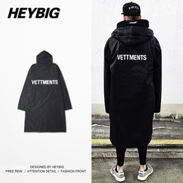 Wholesale Big Coats For Men - Wholesale- Elongated Trench for men Big and Tall VETT Anti-fashion European Hot 16SS OVERSIZED RAIN COAT with Hood Heybig Swag Clothing