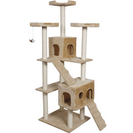 Wholesale Pet Cat Houses - 73 inch Cat Kitty Tree Tower Condo Furniture Scratch Post Pet Home Bed Beige