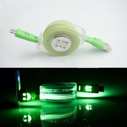 Wholesale Smile Face Cable - Led Light Charger cable Data Cable 1m Colorful Led Light Smile Face Retractable Data Sync Micro USB Cable For samsung Huawei Android