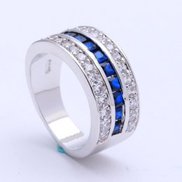 Wholesale Wedding Jewelry Sets Royal Blue - Wholesale- royal blue Czech zircon silver plated engagement ring for women fashion jewellery Wedding vintage luxury gift Ring jewelry