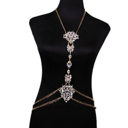 Wholesale Vintage Style Necklaces Wedding - hot sale new fashion style Europe Sexy metal chain designer vintage Retro Palace colorful rhinestone Diamond chain body jewelry