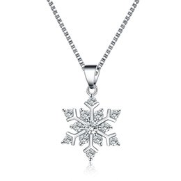 Wholesale Costume Silver Necklace - Silver Snowflake Pendant Necklace Pendant Crystal Winter Christmas Theme of Valentine's Day Factory Wholesale