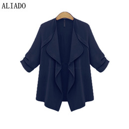 Wholesale extra long coats women - Wholesale- New Arrival Autumn Solid Long Sleeevs Open Stitch Women Thin Coat Batwing Sleeves Extra Large Size Loose Coat