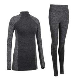Wholesale Thermo Underwear Set - Wholesale- Sexy Women Thermal Underwear Spring Autumn Winter Quick Dry Thermo Sporting Underwear Sets Female Fitness Gymming Long Johns