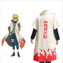 Wholesale Naruto Minato - Woman Men Anime Naruto Cosplay Costume Fouth Hokage Namikaze Minato Uniform Cloak Outfit Cosplay Robe Cape Unisex