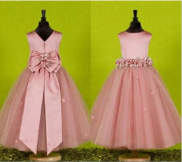 Wholesale Cap For Girls Photos Cute - New Custom Pink Flower Girls Dresses for Weddings 2017 Pretty Formal Girls Gowns Cute Puffy Tulle Pageant First Communion Gown