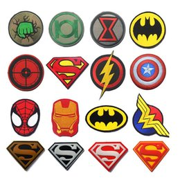 Wholesale Blue Wonder Blueing - Superhero Patches Wonder Woman Flash Spider Man Patch Military Morale Badge Tactical Armband Patch for Jeans Backpack Jackets Cap