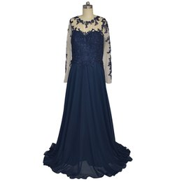 Wholesale Donna Gray Dress - Vestito Elegante Donna Lungo 2018 A-line Long Sleeves Blue Evening Prom Gown Chiffon Dresses For Women