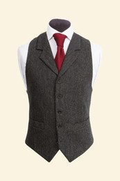 Wholesale Dresses Custom Men - 2017 Vintage Black Wool Tweed Vests Slim Mens Suit Vests Custom Made Sleeveless Suit Jacket Men Wedding Waistcoat Mens Dress Vest Groom Vest