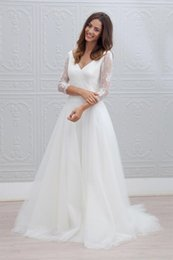 Wholesale Bohemian Formal Dress Lace - Beach Summer Boho Wedding Dresses 2017 Puffy Tulle V-neck Backless Wedding Bridal Gowns Long Sleeves Lace Bohemian Formal Dress For Wedding