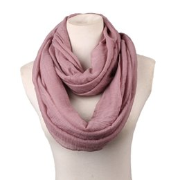 Wholesale Cheap Scarves For Men - Wholesale- big size Fashion Solid Color Scarves Light weight Circle Loop Women Infinity Scarf Plain Snood For Ladies Shawl Cheap Scarfs