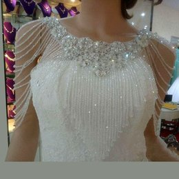 Wholesale Cheap Body Jewerly - Cheap In Stock 2016 High Quality Bridal Shoulder Chain Beads Crystals Wraps with Lace Applqiues Wedding Bridal Fashion Necklace Bridal