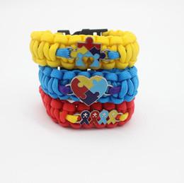 Wholesale Ribbon Autism - 2018 New Love Autism Awareness Ribbon Puzzle Paracord Survival Friendship Womens Girls Ladies Bracelets Free Shipping