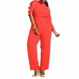 Wholesale Cocktail Jumpsuits - Wholesale- 2017 New Fashion Sexy Women Jumpsuit Black One Shoulder Bodysuit Plus Size Ladies Party Cocktail Loose Long Playsuit
