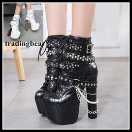 Wholesale Womens Fashion Winter Boots - Trendy rivets chain motorcycle boots womens fashion squared toes high platform thick heel boots size 34 to 40