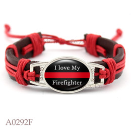 Wholesale Red Line Jewelry - Firefighter Thin Red Line Adjustable Leather Cuff Bracelets for Men & Women Punk Casual Wristband Jewelry Gift