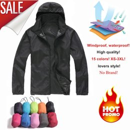 skins clothing Promo Codes - Wholesale- NaranjaSabor 2017 Men's Quick Dry Skin Jackets Women Coats Ultra-Light Casual Windbreaker Windproof Men Brand Clothing 15 Colors