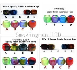 Wholesale Resin Babies - Colorful Resin Replacement tube Caps Big Capacity for SMOK TFV8 Baby Big Baby X Baby TFV12 Glass tank Expansion tank Epoxy Drip Tip tips