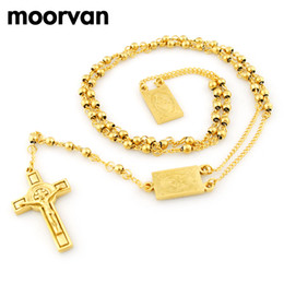 Wholesale 14k Gold Beads 4mm - Wholesale- Moorvan 4mm,66cm long gold color men rosary bead necklace Stainless steel Religion of Jesus ,women cross jewelry, 2 colors