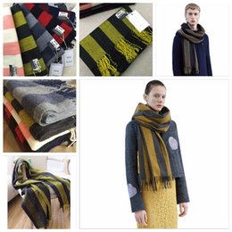 Wholesale Striped Cotton Scarves - AC Studios Scarf for Women and Men New Winter Cotton Wool Men striped long Scarves Pashmina Warm Tassels YYA453