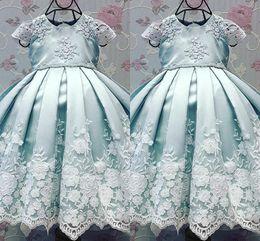 2019 nourrissons robes de baptême Robes de baptême bébé bleu avec mancherons 2017 Robes de fête robes de bal avec appliques nourrissons robes de baptême pas cher