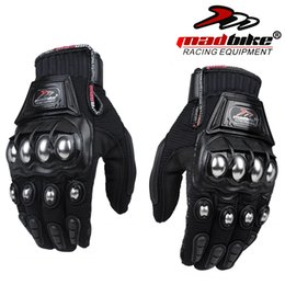 Wholesale motorcycle gloves s - Wholesale- New Madbike protective Gloves motorcycle Stainless Steel Sports Racing Road Gears Motorbike motocicleta guantes moto luvas