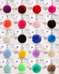 artificial rings women Promo Codes - Lovely Fluffy Rabbit Ear Fur Anime Ball Key Chain Rings Pendant Cute Pompom Artificial Rabbit Fur Keychain Women Car Bag