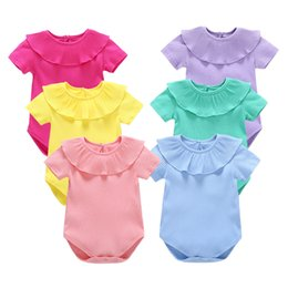 Wholesale Light Blue Baby Romper - Baby romper girls summer candy color rompers baby knitted fabric jumpsuit short sleeve clothing 5 p l