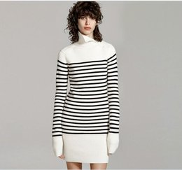 Wholesale Black White Striped Mini Dress - 2016 autumn and winter women 's new navy wind black and white stripes high collar sweater dress long knitted dress