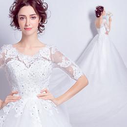 Wholesale Organza Feather Beaded Wedding Dress - Hot Sale Plus Size Scoop Wedding Dresses Half Sleeve Beaded Lace A-line Floor Length Bridal Gowns vestido de noiva Custom