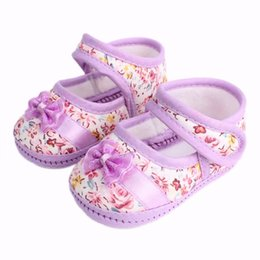 Wholesale Flower Shoes For Babies - Wholesale- 2017 Girls Flowers Bow Baby Toddler Shoes Spring AutumnChildren Footwear First Walkers Shoes For Toddler Girls 11cm 12cm 13cm