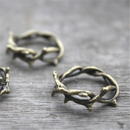 Wholesale Twigs Wholesale - 10pcs--Crown of Thorns Charms,Thorn Ring,Bronze Twig Ring, Branch Ring Pendants,Charms, gift accessory 23 mm