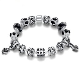 Wholesale Silver Bracelets For Murano Beads - Hot Sell European 20cm Silver Crystal Charm Bracelet for Women With Blue Murano Glass Beads Jewelry Antique Silver Big Hole Beads Bracelet