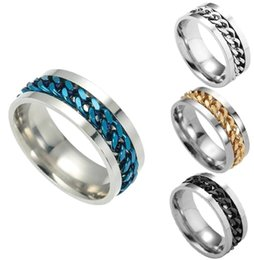 Wholesale Steel Rotating Rings - B223 2017 new European and American jewelry can be rotated chain chain ring personality men titanium steel ring good quality