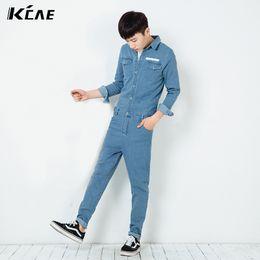 Wholesale Vintage Overalls For Men - Wholesale-Summer Autumn Fashion Vintage Mens Blue Long sleeve Denim Jumpsuits Fall Bib Pants For Man , Male Slim Jeans Overalls