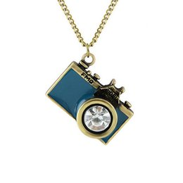 Wholesale Long Pendant Necklaces Camera - Jewelry Zircon retro FM2 camera necklace decorated long necklace alloy sweater chain