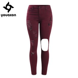 Wholesale Women S Torn Jeans - Wholesale- 2066 Youaxon Women`s Plus Size Mid High Waist Torn Hole Burgundy Denim Pants Ripped Jeans For Woman Free Shipping