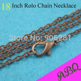 Wholesale Chain Link Fence Wholesales - hain link fence decor 45cm (18 inch) Antique Copper Rolo chain necklace,3mm thick 18 Inch Vintage Style Rolo Chains with Lobster Clasp Co...