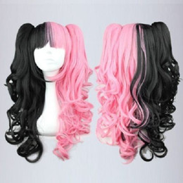 Wholesale Wig Mix Pink Ponytail - free shipping charming beautiful new Hot sell Best New Long Curly Black Pink Mixed Fashion Anime Cosplay Wig Ponytails