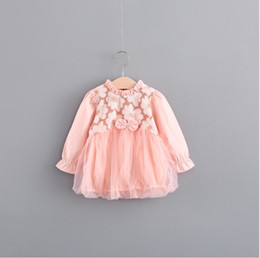 Wholesale Baby Sunflower Dress - baby dress Lace Fower Autumn Princess Dresses Korean Bow Long Sleeve Toddler Dress Sunflowers Infant Tutu Dress C1978