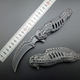 Wholesale Skull Tactical - knuckles skull knife Stonewash 440C karambits Assisted Folding Knife Tactical Folding Blade CLaw Knives Free shipping
