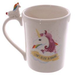 Wholesale Bone Horse - Wholesale- Free Shipping 1Piece Magical Horse Cup I Dont Believe In Humans Office Coffee Mug Cute Quirky Rainbow Unicorn Mug For Kids