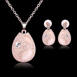 Wholesale Rose Gold Pendant Light - Luxury Rose Gold Plated Jewelry Set Water Drop Cat's Eye Crystal Pendant Necklace Stud Earrings for Women Girls Party Jewelry