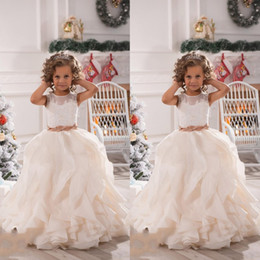 Wholesale Wedding Dresses For Children Cute - 2017 Cute Flower Girls Dresses For Weddings Illusion Neck Lace White Ivory Sashes Ruffles Princess Children Kids Party Birthday Gowns BA2194