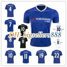 Wholesale Chelsea Jersey Shorts - Top Quality 2016 Chelsea soccer jersey 16 17 HAZARD home bule Away White Third Black PEDRO TERRY DIEGO COSTA WILLIAN FABREGAS football shirt