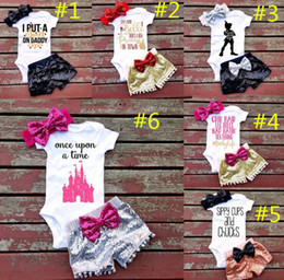 Wholesale Girl Summer Suits - Baby girl INS letters rompers suit 7 Style Children Short sleeve triangle rompers+paillette shorts+bowknot Hair band 3pcs sets clothes