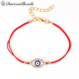 Wholesale Rhinestone Evil Eye - Wholesale- DoreenBeads Polyester Red String Braided Friendship Women Bracelets Gold Plated Blue Evil Eye Clear Rhinestone 19cm long 1 Piece