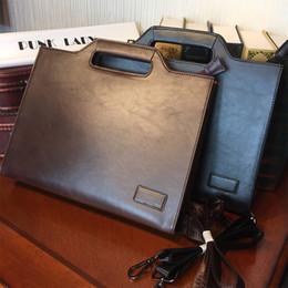 Wholesale Laptop Shoulder Bag Handle - Wholesale- ETONWEAG New 2017 men famous brands Italian leather brown zipper business style briefcases vintage document laptop shoulder bags